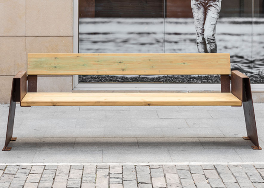 Street furniture with benches, litter bins, bollards, planters and equipment , Benches , UB18PT Alp Bench , Alp bench, rustic style but at the same time sophisticated in its design.