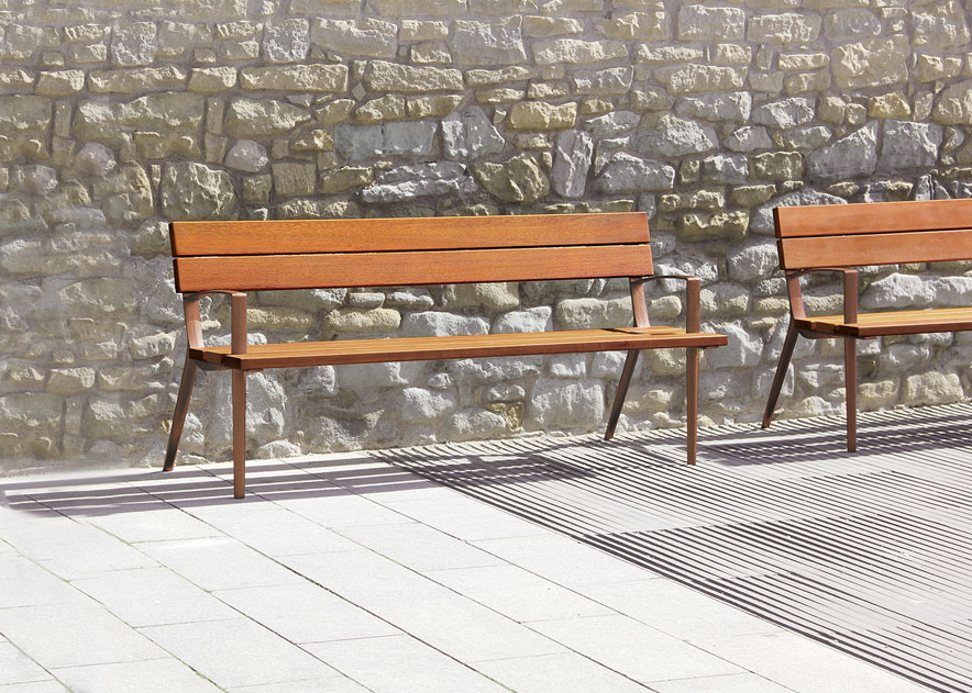 Street furniture with benches, litter bins, bollards, planters and equipment , Benches , UB29 Oslo bench ,